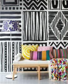 Totally inspiring black and white geometric wallpaper ideas for bedroom (4)