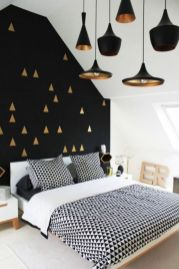 Totally inspiring black and white geometric wallpaper ideas for bedroom (6)