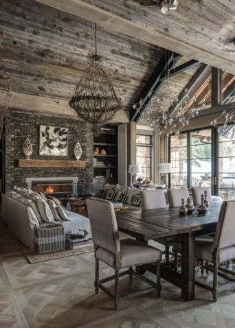 Amazing rustic mountain farmhouse decorating ideas (14)