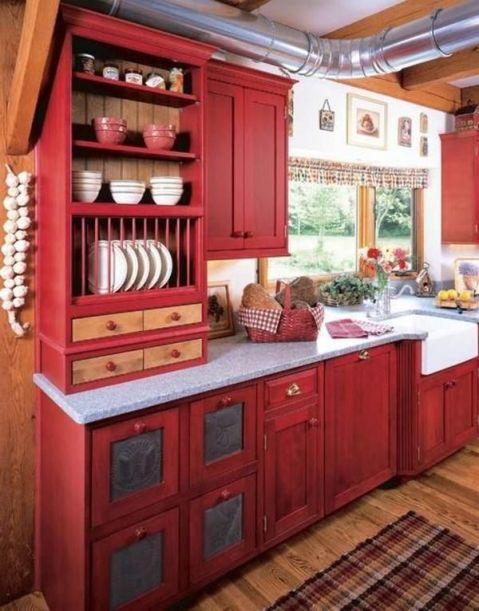 Well passionate red kitchen designs that you must see 20