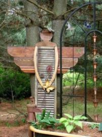 Brilliant garden junk repurposed ideas to create artistic landscaping 28