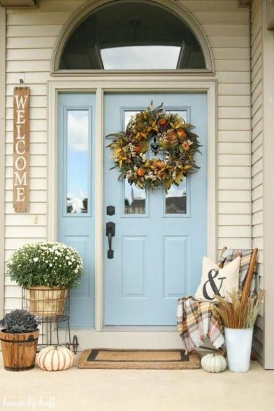 Most stylish farmhouse front door design ideas 17