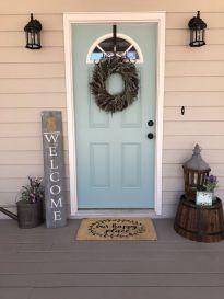 Most stylish farmhouse front door design ideas 44