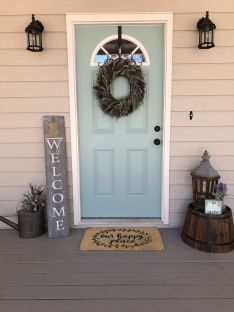 Most stylish farmhouse front door design ideas 44