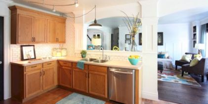 Amazing oak cabinet kitchen makeover ideas 26