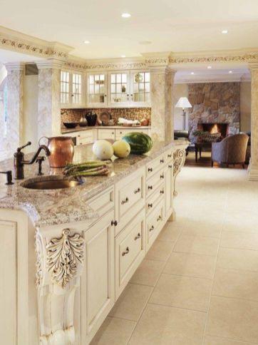 Comfy antique white kitchen cabinets ideas 06
