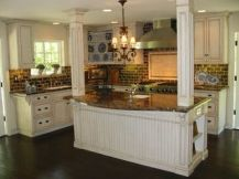 Comfy antique white kitchen cabinets ideas 15