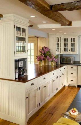 Comfy antique white kitchen cabinets ideas 17
