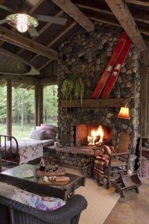 Cute rustic fireplace design ideas 12