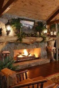 Cute rustic fireplace design ideas 17