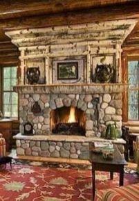 Cute rustic fireplace design ideas 21