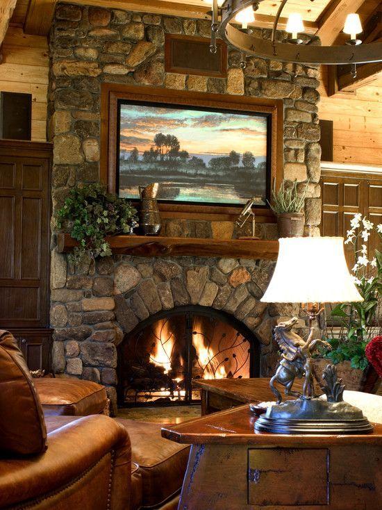 Cute rustic fireplace design ideas 23