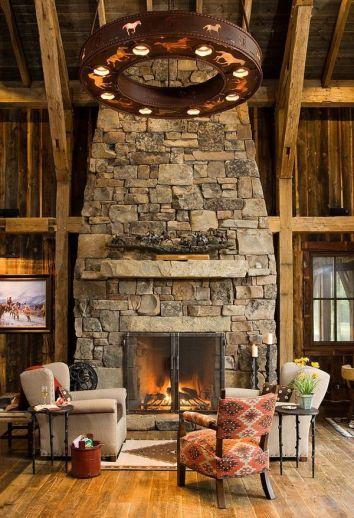 Cute rustic fireplace design ideas 26