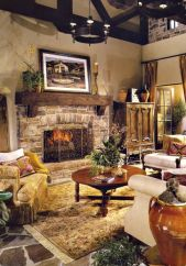 Cute rustic fireplace design ideas 27