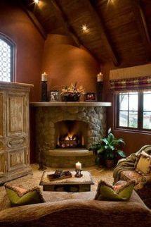 Cute rustic fireplace design ideas 38