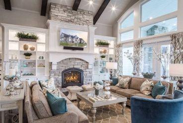 Cute rustic fireplace design ideas 40