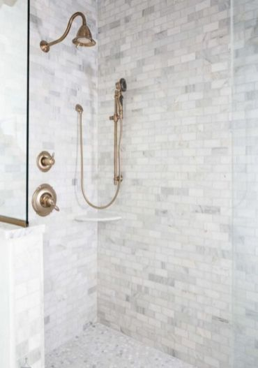 Awesome farmhouse shower tiles ideas 12