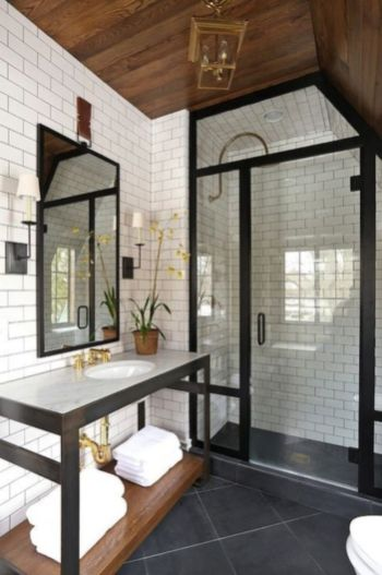 Awesome farmhouse shower tiles ideas 13