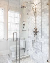 Awesome farmhouse shower tiles ideas 19