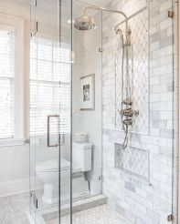 Awesome farmhouse shower tiles ideas 19