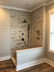 Awesome farmhouse shower tiles ideas 21