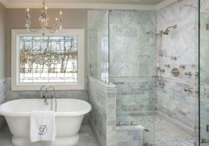 Awesome farmhouse shower tiles ideas 40