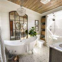 Cozy farmhouse bathroom makeover ideas 08