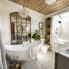 Cozy farmhouse bathroom makeover ideas 08