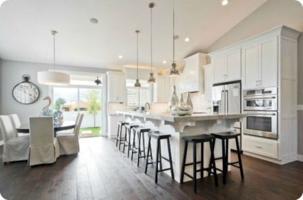 Cozy white kitchen with dark floors 39