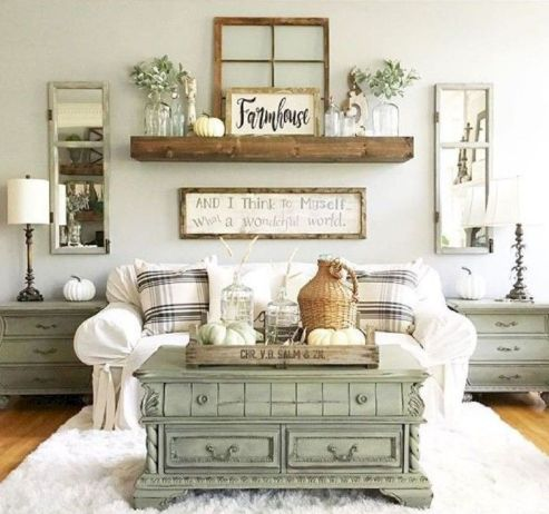 Fabulous farmhouse living room decor design ideas 07