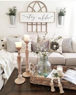 Fabulous farmhouse living room decor design ideas 23