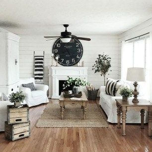 Fabulous farmhouse living room decor design ideas 31