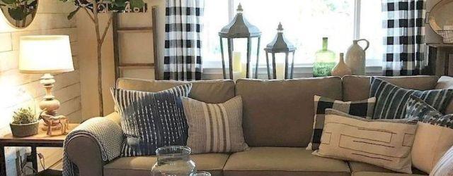 Fabulous farmhouse living room decor design ideas 34