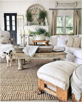 Gorgeous farmhouse living room decor design ideas 21