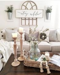 Gorgeous farmhouse living room decor design ideas 28