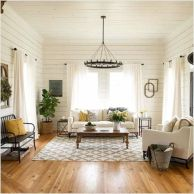 Gorgeous farmhouse living room decor design ideas 30
