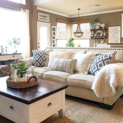 Gorgeous farmhouse living room decor design ideas 36