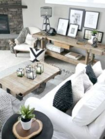 Gorgeous farmhouse living room decor design ideas 46