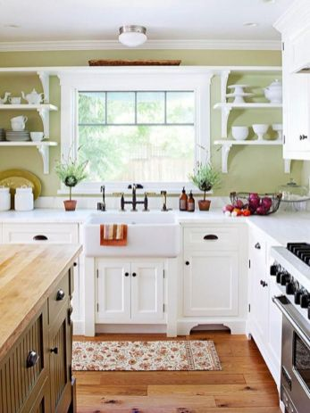 Impressive farmhouse country kitchen decor ideas 34