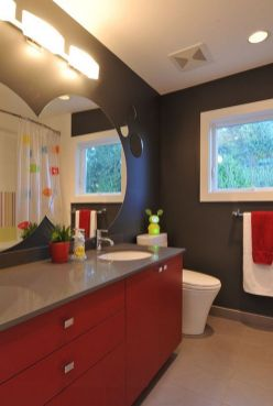Most popular red black and white bathroom decor ideas 02