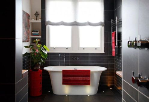 Most popular red black and white bathroom decor ideas 04