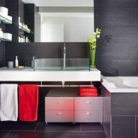 Most popular red black and white bathroom decor ideas 09