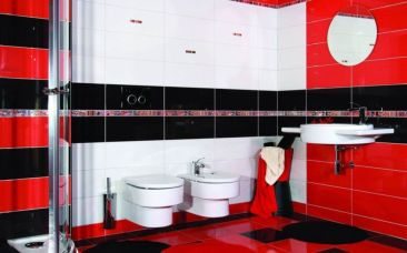 Most popular red black and white bathroom decor ideas 12