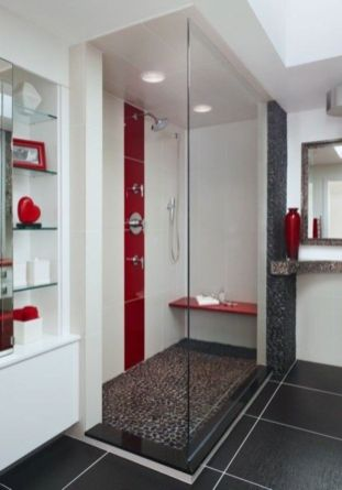 Most popular red black and white bathroom decor ideas 13