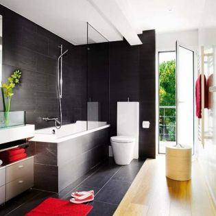Most popular red black and white bathroom decor ideas 27