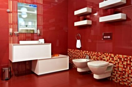 Most popular red black and white bathroom decor ideas 32