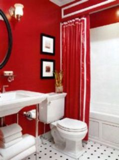 Most popular red black and white bathroom decor ideas 33