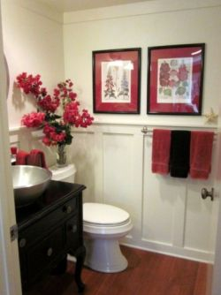 Most popular red black and white bathroom decor ideas 36