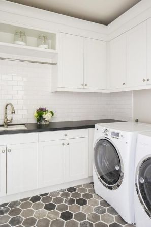 Outstanding black and white laundry room ideas 13