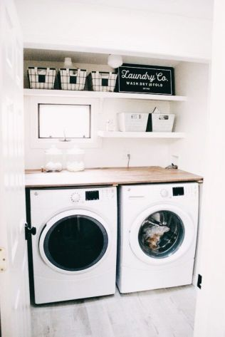 Outstanding black and white laundry room ideas 17